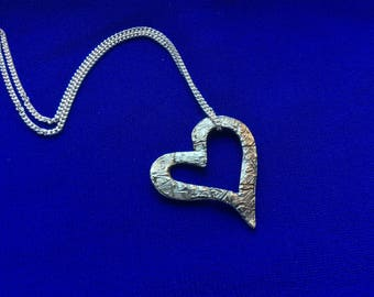 Silver open heart necklace, sterling silver open heart charm necklace