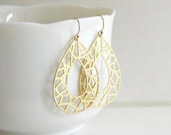 Gold Geometric Teardrop Earrings, Large Gold Earrings, Cut Out, Modern Gold Earrings, Gold Dangle Earrings - 14K Gold Fill Ear Wires