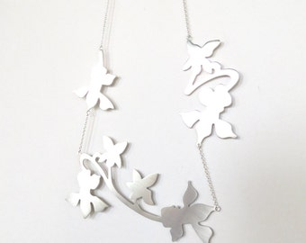 Violet Silhouette Sterling Silver Statement Necklace. Silver Floral Silhouette Neckpiece. Statement Necklace. Floral Necklace.
