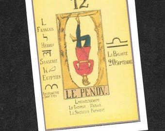 Blank Greeting Card - PAPUS Tarot - The Hanged Man - Tarot Greeting Card