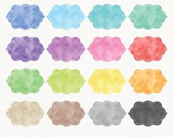 Watercolor Frames Clipart, Watercolor Labels, Border Clipart