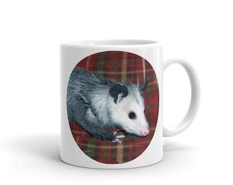 Possum Mug, Possum on Plaid, Possum, Opossum, Virginia Possum, Pet Possum, Mug