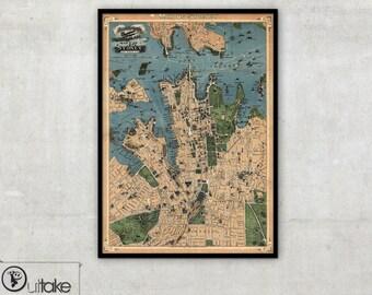 Sydney Wall map, Vintage Australia, 107
