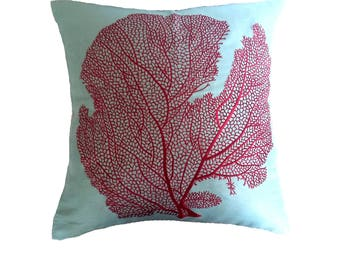 On sale Burgundy coral pillow. Burgundy coral on aqua blue Sea theme. Beach pillow. decorative costal  throw pillow cover  In stock. 50%off