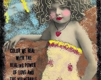 COLOR ME REAL altered art collage therapy abuse recovery ATC ACEO PRINT zne