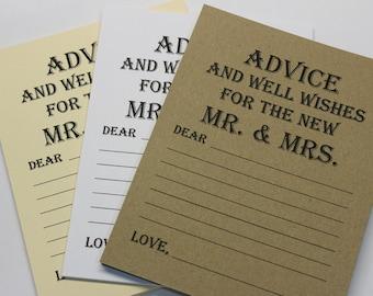 Lot de 20 conseils carte - vœu de mariage - mariage Conseils mariage voeux - douche nuptiale - mariée et marié M. & Mme carte mariage souhait étiquette
