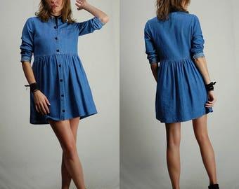 Vintage Denim / Vintage Dress / Mini Dress / 90s Dress / Grunge Dress / Baby Doll / Vintage 90s Dress / Chambray / Boho Dress / Small Medium