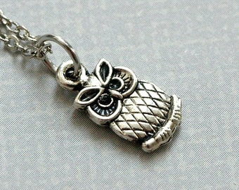 Tiny Owl Charm Necklace antiqued silver plated pewter, initial necklace, initial hand stamped, personalized, monogram