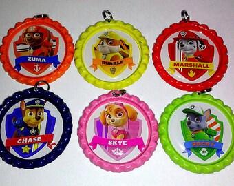bottle cap necklace keychain paw patrol nick jr party favor set