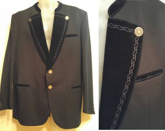 LODENFREY MENS 40R M Austrian Wool Jacket Blazer Black Medium Vintage Retro