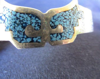 Vintage Bracelet, Sterling Silver Cuff Bracelet, Turquoise, Hallmarked 925 MEXICO, Collectible Jewelry