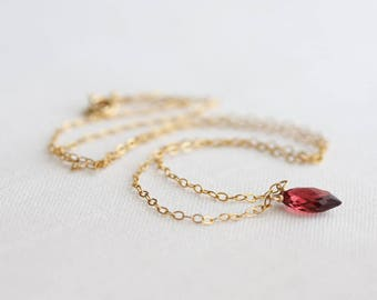 January birthstone necklace - garnet necklace - tiny garnet gemstone briolette on gold or silver chain - garnet jewelry, gift for her