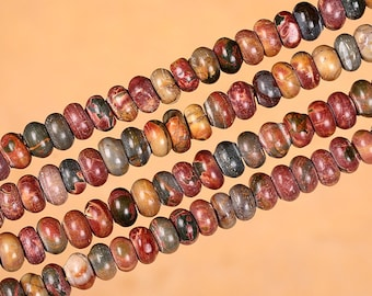 Picasso Stone Beads, Picasso Jasper Beads, 5*8mm Natural Picasso Stone Jasper Rondelles, Marble Semi Precious Stone Jewelry Beads (Y90)