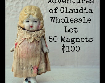 Wholesale 50 Adventures of Claudia Rectangle Refrigerator Magnets Antique China Doll Photography