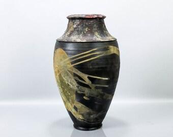 Spectacular Large Pokai Vase Vessel Raku Vintage Studio Pottery Black and Gold