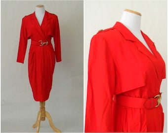 FREE usa SHIPPING vintage 1980's Secretary red nautical polyester dress slit in the back shoulder pads size 7/8