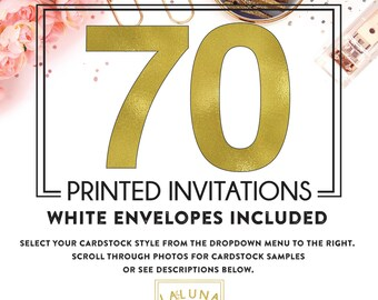 Set of 70 printed invitations / cards