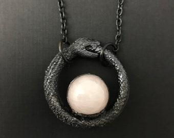 Ouroboros Talisman   Rose Quartz Necklace   Snake Necklace