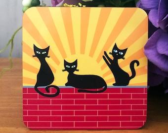 Black Cat Coasters - Set of 4 - Sunrise, Daytime, Sunset and Night Time