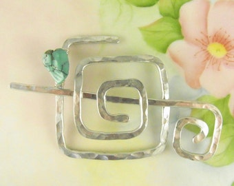 Silver Shawl Pin/Brooch Hand Formed Abstract Square with Genuine Turquoise