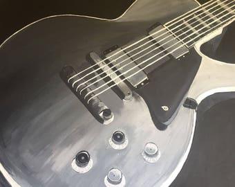 "ORIGINAL Medium Acrylic Monochrome Painting- Close Up Guitar 16"" x 20"""