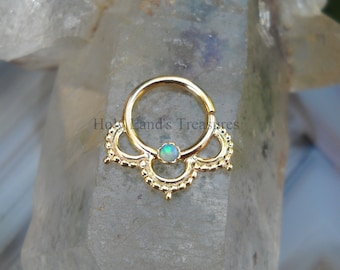 Tribal Septum Ring - Septum Piercing - Septum Jewelry - Septum Nose Ring -  14K Solid Yellow Gold Septum Ring Set With a 2mm Blue Opal