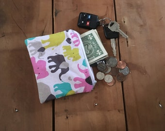 Elephant Coin Purse, Mini Zipper Bag, Gift Women, Gift under 10 for Her, Ear Bud Pouch, Credit Card Holder, Coin Purse Wallet, Gift For Men