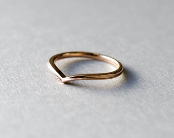 18k Rose Gold Ring, Dainty Ring, Chevron Ring, Delicate Ring, Wedding Ring, Engagement Ring, Promise Ring, Anniversary Gift, Gift For Her