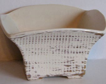 1950s Haeger Planter Mod Square White with Gold Tweed Glaze