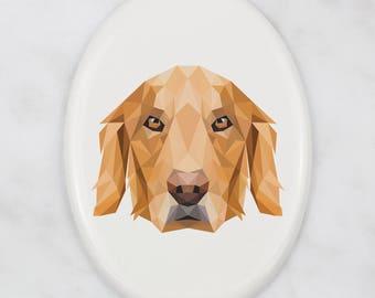 A ceramic tombstone plaque with a Golden Retriever dog. Art-Dog geometric dog