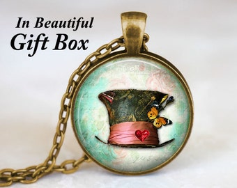 Mad Hatter Hat • Alice In Wonderland Jewelry • Fairy Tale Necklace • Mad Hatter Jewelry • Through The Looking Glass