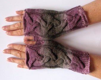 Fingerless Gloves Gray Black Purple Pink Arm Warmers Knit Soft
