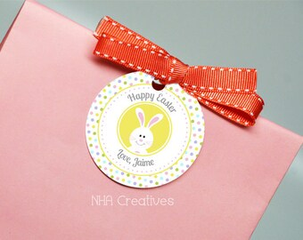 Personalized Happy Easter Favor Tag - Polka Dots - DIY Printable Digital File