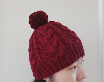 READY TO SHIP | Cable Knit Beanie in Burgundy | Pom Pom hat | Winter hat | Red wine