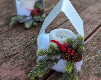 Lighted house with Cardinal - Holiday Decor- Country Decor- Farmhouse Style - Timer Candle - Holiday Gift - Cardinal