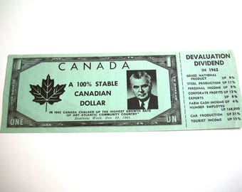 Green Diefenbaker Dollar 1962 Diefendollar Devaluation Dividend Vintage Political Campaign Prop Progressive Conservatives Canadian Canada PC