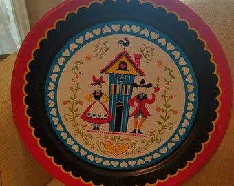 Vintage, metal, tray,  round, platter, scandinavian, red, blue