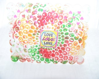 "A ""Love"" Postcard with Scalloped edges on an original monoprint design"