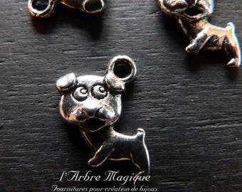 The 4 x silver dog charm