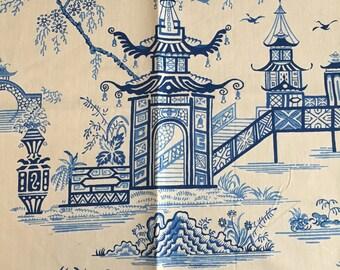 NEW ASIAN PAGODA Design  -Indigo/Ivory -Decorative Pillow Cover .-Designer Fabric -Indigo Blue / Ivory Throw /Lumbar Pillow Cover