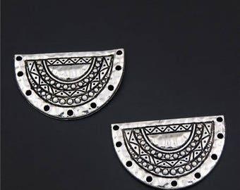 2 pendants, breastplates stunning silver plated antique spirit ethnic 35 * 23mm