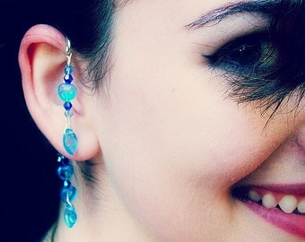 Fantasy Elemental Ear Cuff Mermaid Blue Beach Wedding