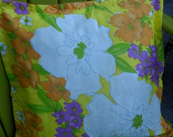 Retro Quilted Fabric Pillow Covers, Bright and Bold Floral Design