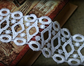 """Tresors  White  Venice Bridal Crafting Embroidered Fabric Lace Trim LA-054 10% off """"SUMMER10"""" at checkout"""