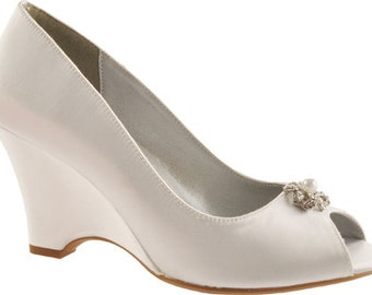 """Wedding Shoes - Bridal Wedge Shoes- PB102.5 Women's 2.5"""" Wedge Shoes-Custom Hand Dyed"""