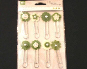 Making Memories- Paperie- Greenhouse- Felt Clip Combo- Greens-Brand New
