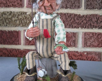 Art Doll/Doll/Art/Polymer Clay/Hand Sculpted/Fishing/OOAK/Fisherman/One of a Kind/Sculpted/Old Man