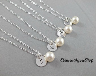 Bridesmaid initial necklace, Set of 4, Sterling silver jewelry, Personalized gift, Bridesmaid gift, Monogram necklace, Pearl necklace