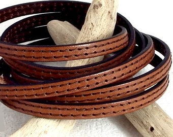 6mm flat leather camel Brown two stitching
