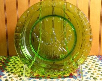 American Eagle Ashtray  Vintage Green Glass
